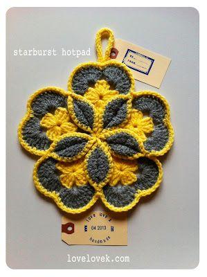 Crochet Starburst Hotpad how-to from lovelovek––really like the step-by-step photos ❥Teresa Restegui http://www.pinterest.com/teretegui/❥