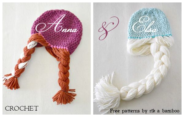 A perfect gift for the Disney FROZEN fan! Free crochet hat pattern with attached braids - adorable!