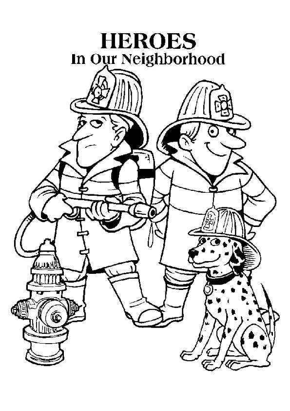 Firefighter Coloring Page Word Pics