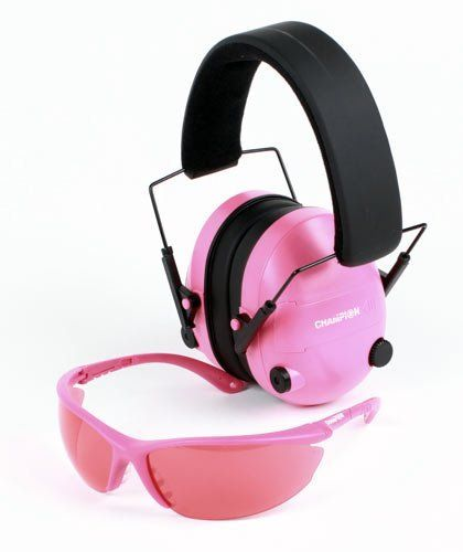 Champion Electronic Ear Muffs & Shooting Glasses - Pink Package by Champion. $49.99. Champion Ear Muffs - Electronic 25dB NRR Hearing Protection, Pink   The shooting experts at Champion now offer female shooters new products designed to enhance their shooting experience. From shell pouches to eye and ear protection, these new products are ergonomically engineered for hours of shooting action. Best of all, a portion of the proceeds from 2009 sales will go directly to figh...