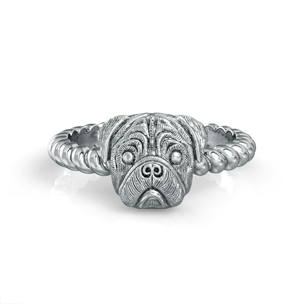 PUG Breed Jewelry Twisted Wire Rope Ring