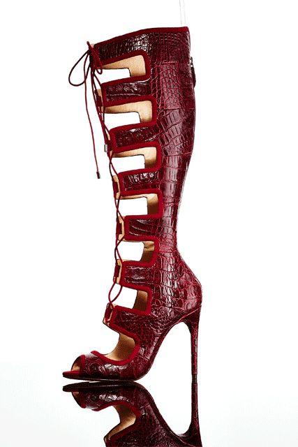 A shoe to empower you: Alexandre Birman Caryne Crocodile Lace-Up Gladiator  Sandal.