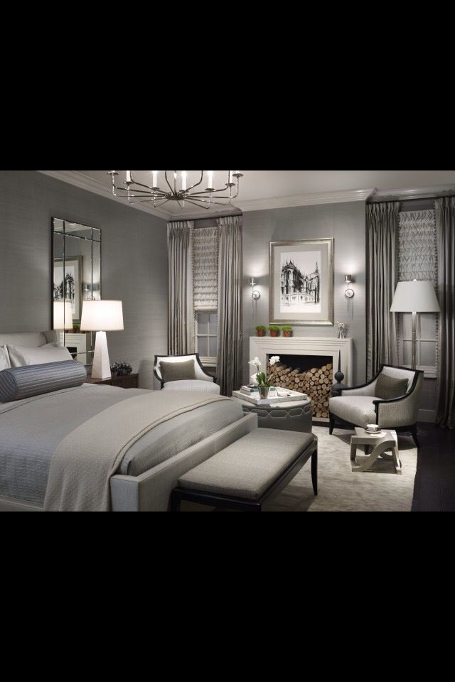 Seating area in a large bedroom.