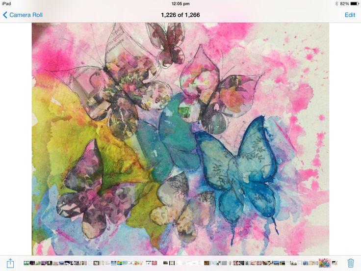 Butterflies. Mixed media