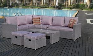 Groupon - Rattan-Effect Garden Furniture Eight-Seater Corner Sofa Set in Grey With Free Delivery. Groupon deal price: £499.99