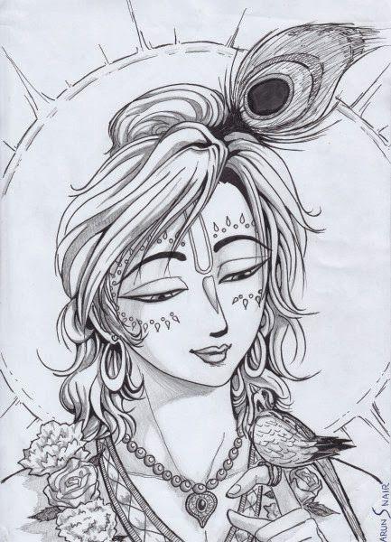 Krishna Sketch Pic Lord Krishna Pencil Sketch