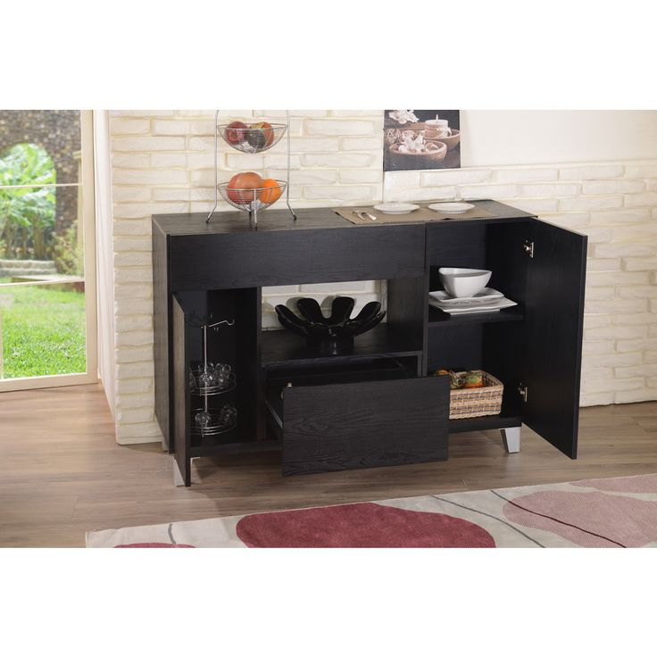 Furniture Of America Carrera Contemporary Black Dining Buffet Storage Server By
