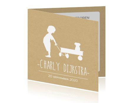 Geboortekaartje jongen of meisje met silhouet bolderwagen en hondje