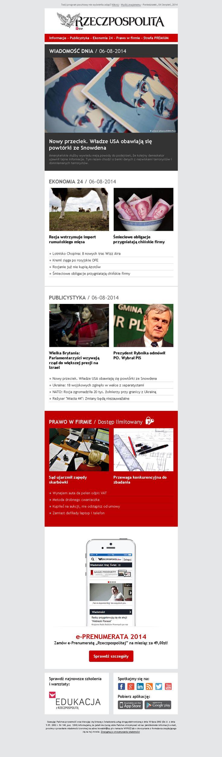 Rzeczpospolita newsletter Webdesign #webdesign #web #design #piotr #wolniewicz #portfolio #inspiration #email #marketing