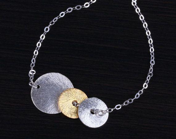 "Disc bracelet, silver disc bracelet, gold disc bracelet, mixed metal bracelet, bridal bracelet, bridesmaid gift, ""Helen of Troy"""