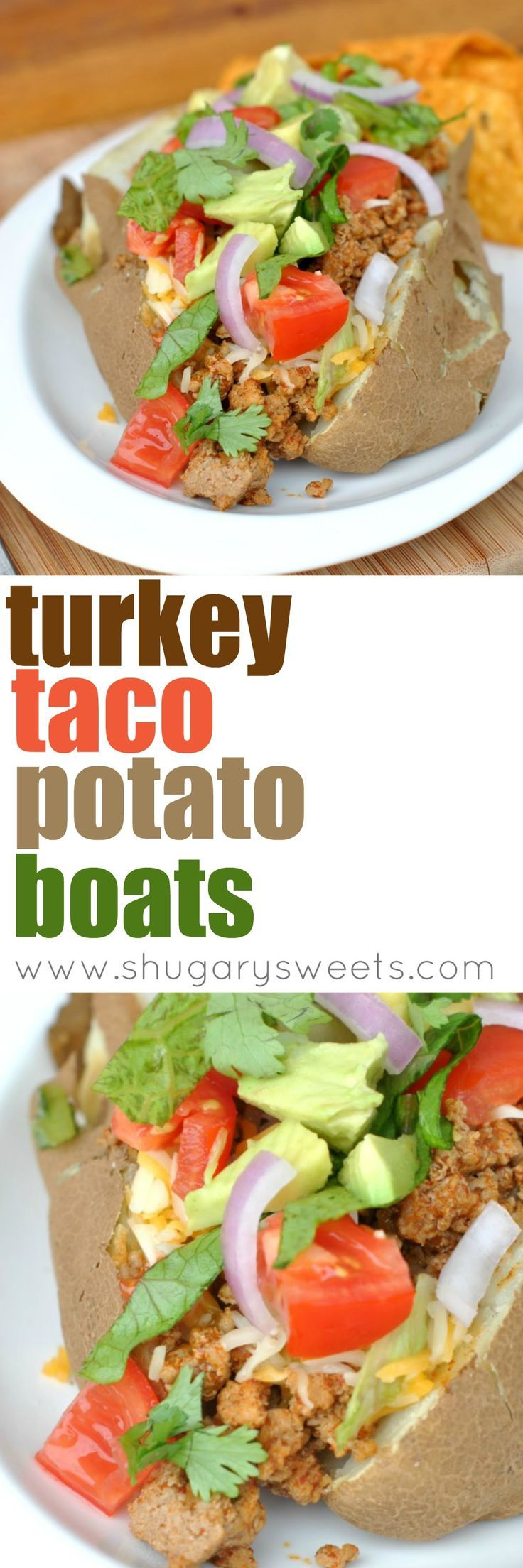 Looking for a delicious, easy dinner idea? Try combining a classic baked potato with taco seasoned ground turkey! Don't forget all the toppings!