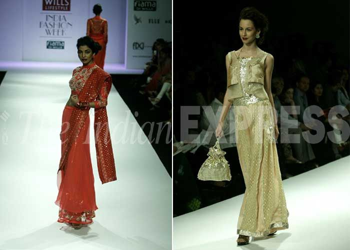 The collection consisted of fitted silhouettes like multi-coloured jumpsuits, mini-kurtas, choli-tanks, dhotis, shararas, saris and waistcoats. It represented a desi woman, who is bold, beautiful and familiar with her culture. (IE Photo: Praveen Khanna)