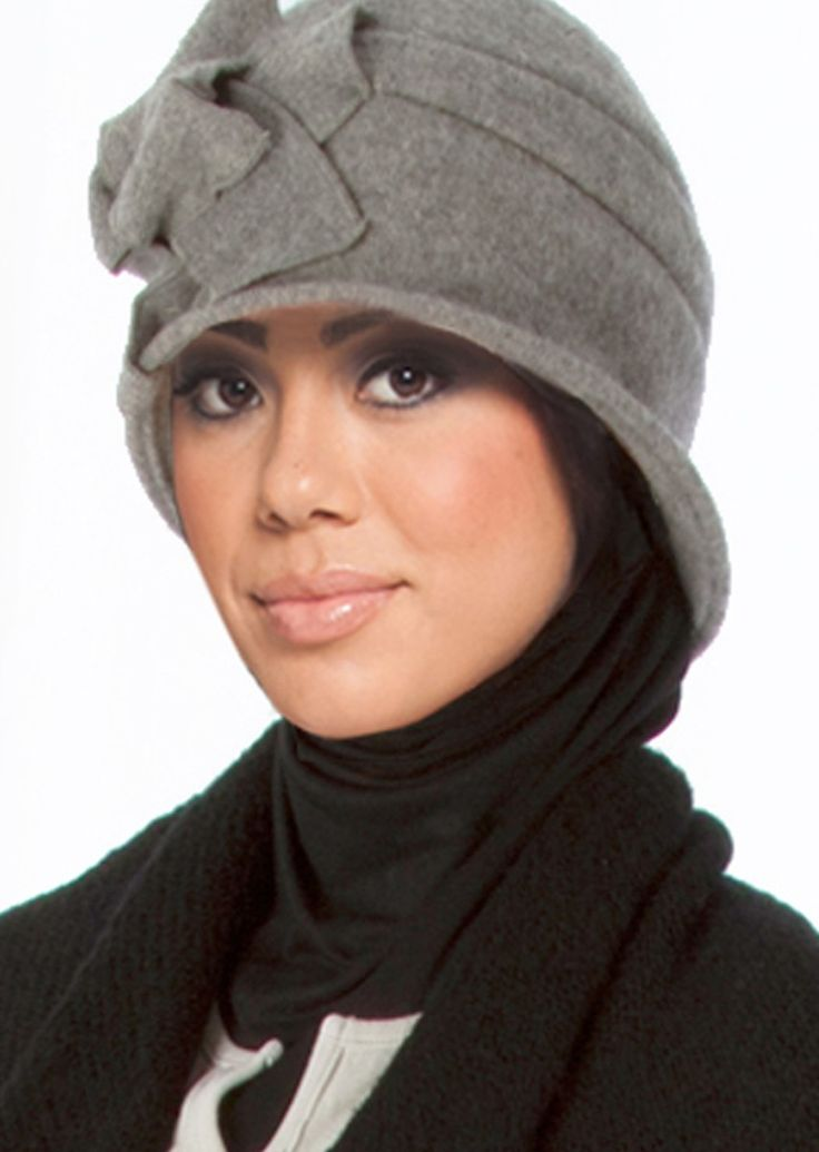 Marina Wool Hat with Flower Accent - Hats - Islamic scarves at Artizara.com