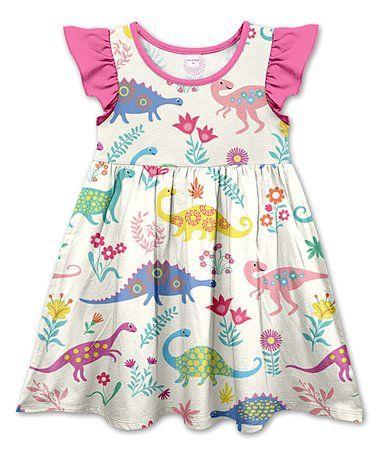 87e80d30cc8f6 Love this Ecru Floral & Dinosaurs Angel-Sleeve Dress - Toddler & Girls on  #zulily! #zulilyfinds