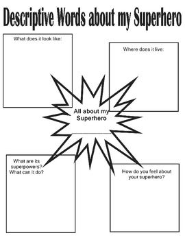 Descriptive writing activities with a superhero theme!  Part of a whole set of activities, K-6!