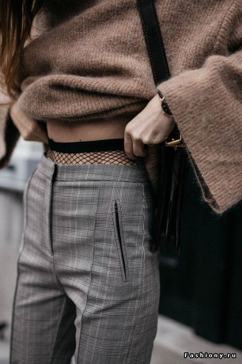 High waist trousers, fishnets, chunky sweater