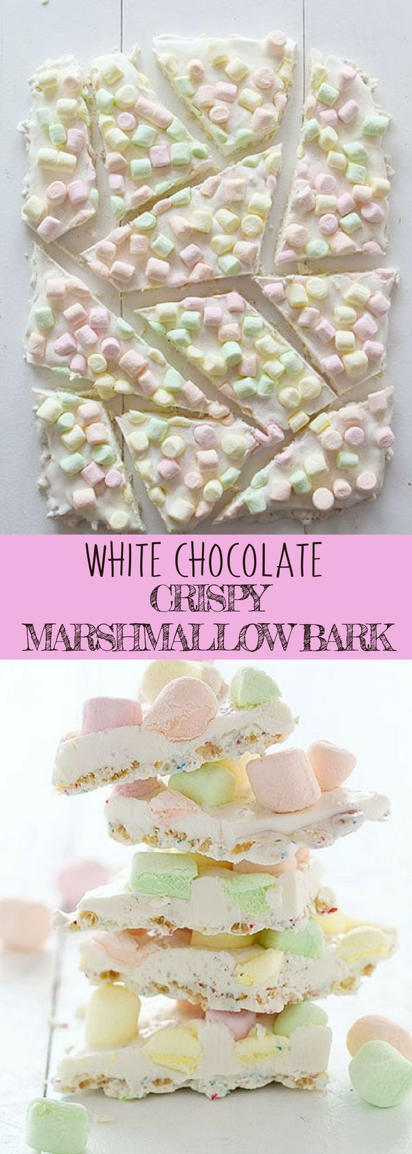 WHITE CHOCOLATE CRISPY MARSHMALLOW BARK | Love chocolate bark recipes? You'll definitely love this easy dessert recipe for winter! All you need are quality white chocolates, colored mini marshmallows and some sprinkles. For more simple and easy dessert recipes to make, check us out at #iambaker. #chocolate #foodlover #desserts #yummydesserts #recipeoftheday