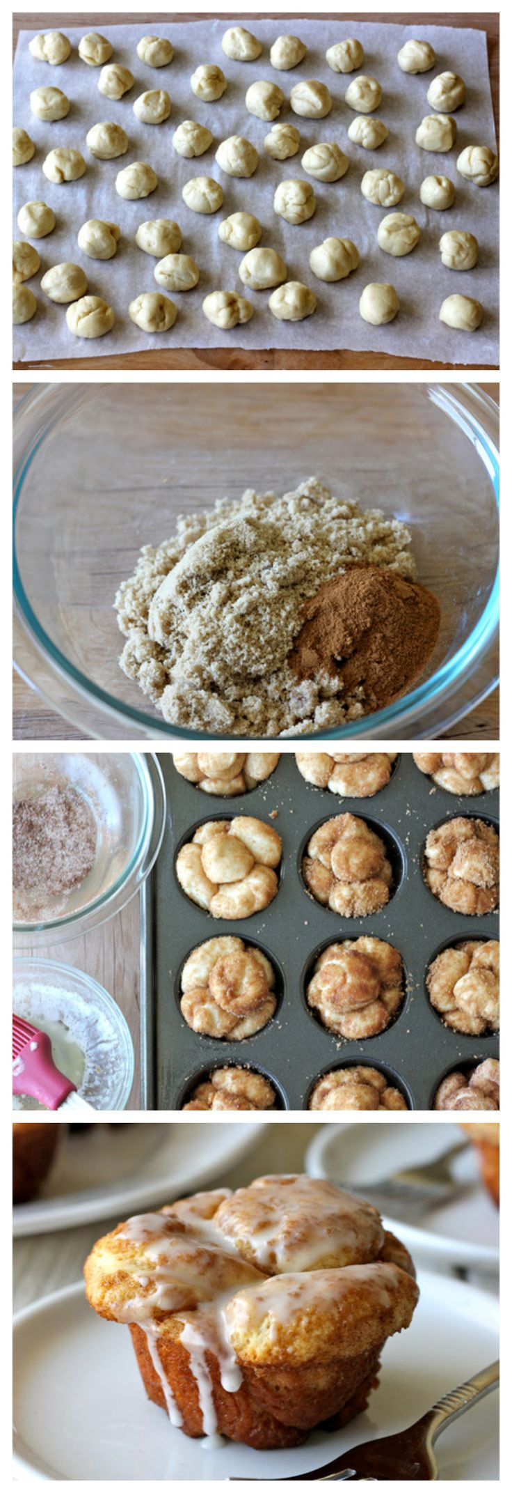 Monkey Bread Cupcakes - Classic monkey bread in irresistible cupcake form oozing with cinnamon sugar goodness and a dripping vanilla glaze!