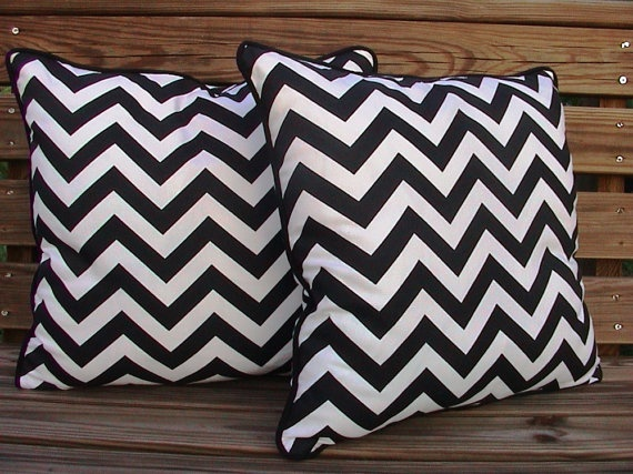 chevron pillows with black piping idea