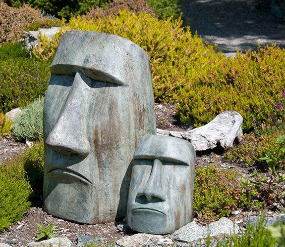 "Rapa Nui Designed by Klaus Kinast Large 20"" x16"" x 30""  150 lbs $330 Medium 11"" x 9"" x 14""  50 lbs $160"