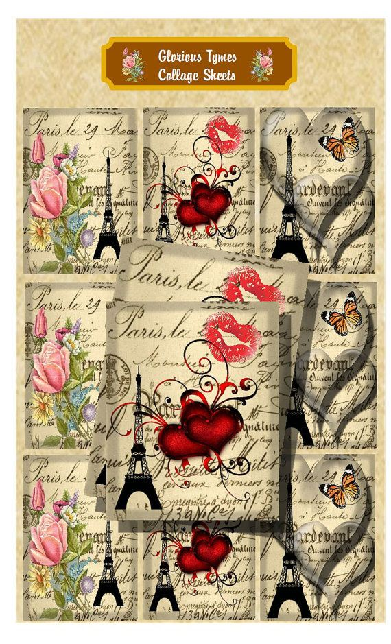 Sale Paris Collage Sheet scrapbook papers gift by GloriousTymes