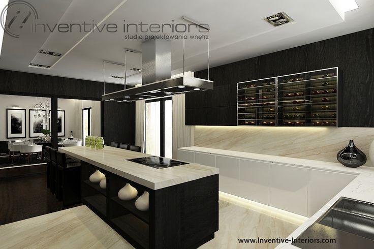 Projekt domu 140m2 Inventive Interiors - ciemne drewno i biały lakier w połączeniu z beżem w kuchni