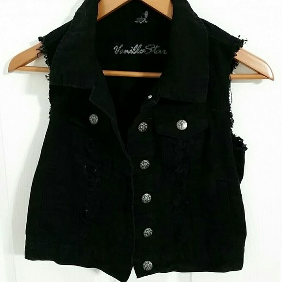 Black denim vest with a ripped vintage look!! Silver button front, ragged arm holes to give it a rough edgy feel with destruction down the front! Vanilla Star Jackets & Coats Vests