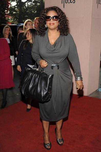 Oprah Winfrey Cocktail Dress - Oprah Winfrey looked fab in her figure-flattering gray cowl-neck dress at the Women in Entertainment Breakfast.