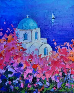 ARTFINDER: SANTORINI IMPRESSION - FULL BLOOM IN ... by ANA MARIA EDULESCU - Original palette knife oil painting, 40 x 50 cm ( 16'' x 20'' inches ). Santorini, one of the most beautiful islands in Greece, is full of traditional villa...