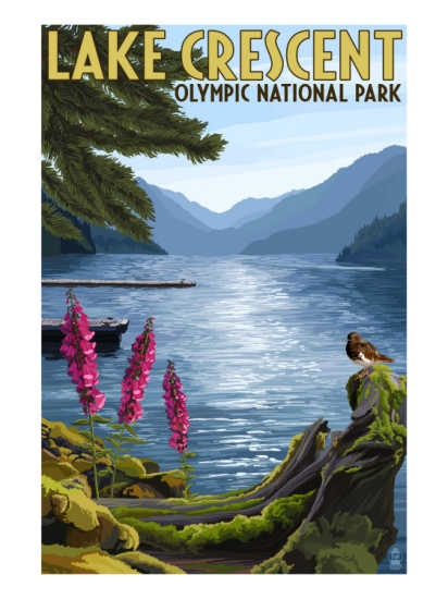 National park poster - Lake Crescent, Olympic National Park, Washington