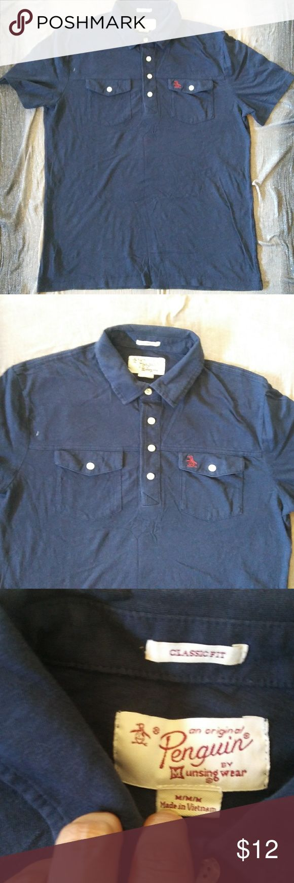 Men's Original Penguin Brand Medium Blue Polo Top Men's Penguin Brand Medium Blue Classic Fit Polo Shirt. No holes. No stains. Not faded. Smoke/Pet. Measures 21 inches from pit to pit. Measures 26 inches from top of shoulder to bottom of shirt. Original Penguin Shirts Polos