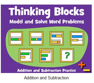 """This is an image from this resource on the Internet4Classrooms' """"Third Grade Math Skill Builders interactive help on standardized tests"""" resource page:    Thinking Blocks.    Solve multi-step word problems. Includes addition, subtraction, multiplication, division, ratio and proportion models"""