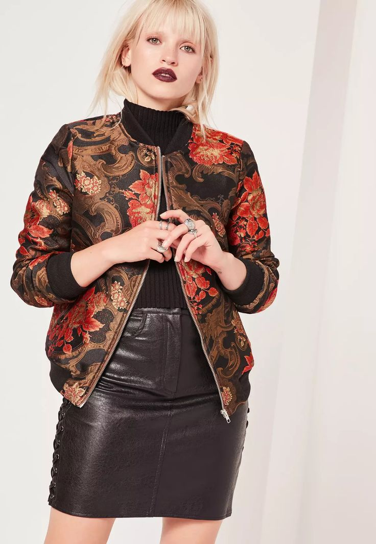 Holla at premium! Invest in some dark florals to get you through the 'ber months with this bomber jacket  - featuring a jacquard print and two zip pockets to the front.