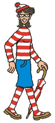 "Wenda is Waldo's current girlfriend. The character is the ""one who takes the pictures"" according to the intro of The Wonder Book, but she always loses her camera.  She first appeared in 1991 in Where's Waldo: The Magnificent Poster Book along with her twin sister, Wilma. Wilma, however, has not been seen since. Wenda's wardrobes include a red and white striped shirt, blue skirt, red and white striped stockings, glasses, and red and white bobbled hat."