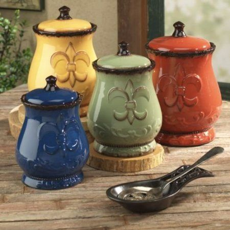 Amazon.com: Tuscany Colorful Hand Painted Fleur De Lis Canisters, Set of 4, 82001 by ACK: Home & Kitchen
