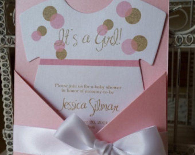 La Original color de rosa y oro con temas de bebé ducha invitación - Baby Girl ducha brillo tema - costumbre cortado con tintas