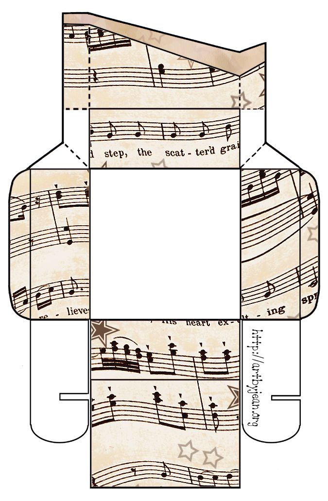 To do....print and assemble...ArtbyJean - Vintage Sheet Music: Set 003 - Vintage Sheet Music Free Clipart Biege Tan - Printable Gift Boxes