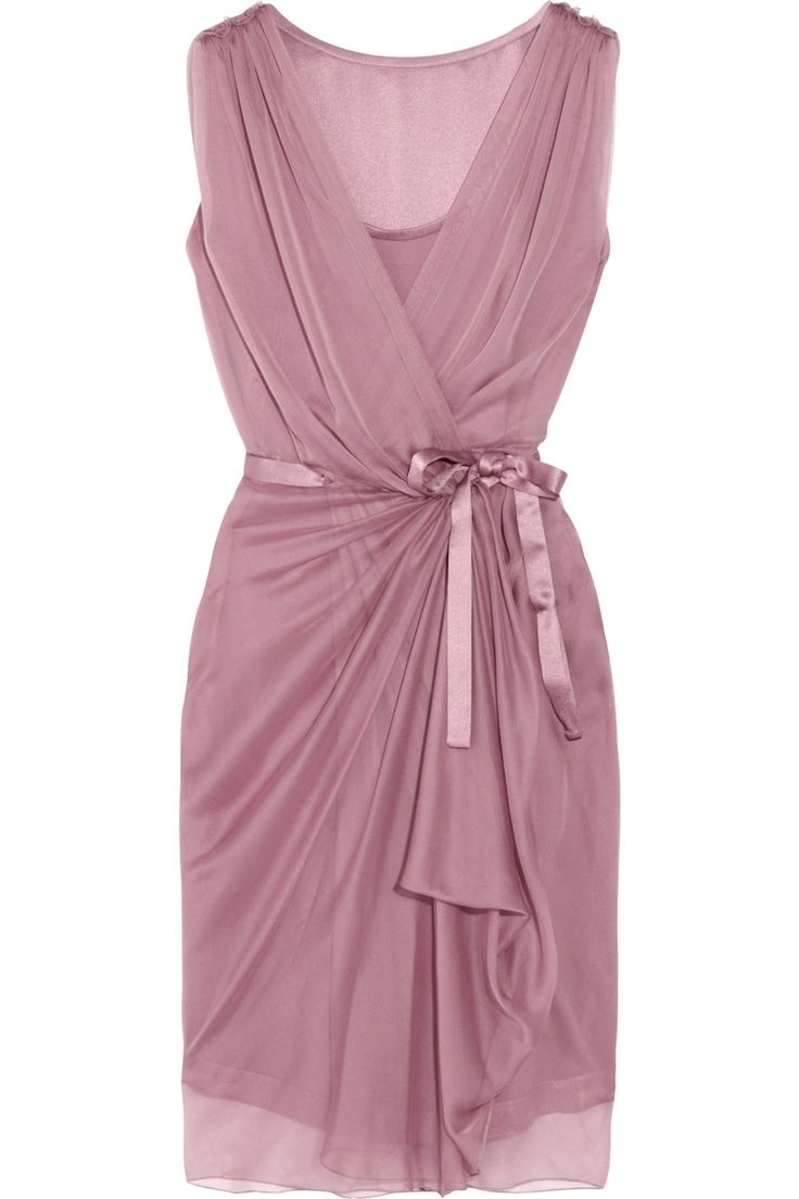 Alberta Ferretti Silkchiffon Wrap Dress in Purple via Lyst ~ Soft Summer