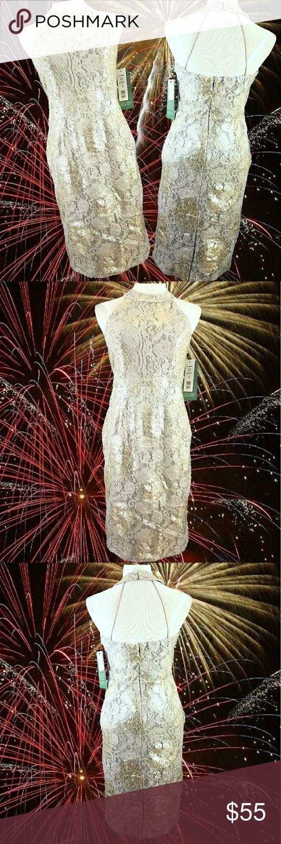 "NWT Gold & Silver Metallic Halter Dress Bust: 36"" Waist: 32"". Hip: 38"" Length: 40"" lightweight metallic printed lace gold & silver lined zip back hand wash  2017606 Scarlett Dresses"