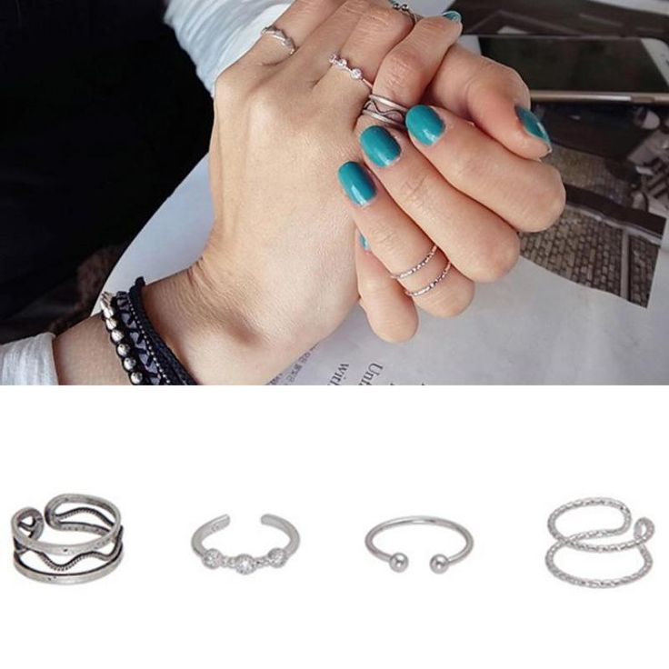 Authentic 100% 925 Sterling Silver 4 Pcs Midi Rings Sets For Women Vintage Tail Ring Opening Adjustable Jewelry Anelli Donna