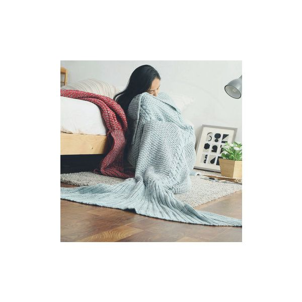 80x190CM Adult Yarn Knitted Mermaid Tail Blanket Handmade Crochet... (44 AUD) ❤ liked on Polyvore featuring home, bed & bath, bedding, blankets, blue, blue blanket, blue throw blanket, handmade crochet blankets, crochet mermaid tail blanket and blue bedding