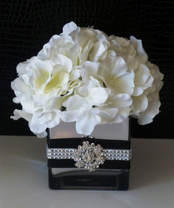 Beautiful Black and White Wedding or Party Centerpiece on Etsy, $29.00