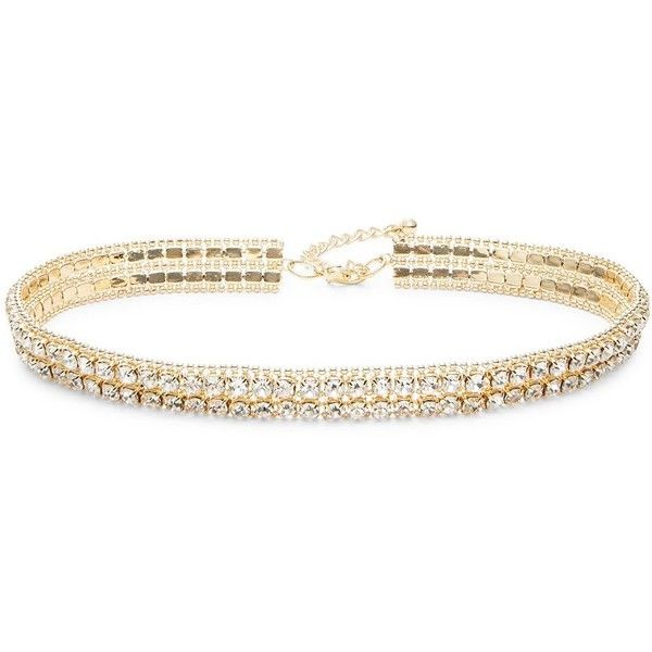 A.B.S. By Allen Schwartz All Choked Up Crystal Choker Necklace ($50) ❤ liked on Polyvore featuring jewelry, necklaces, gold, choker jewellery, crystal jewellery, gold tone jewelry, lobster clasp necklace and choker necklace