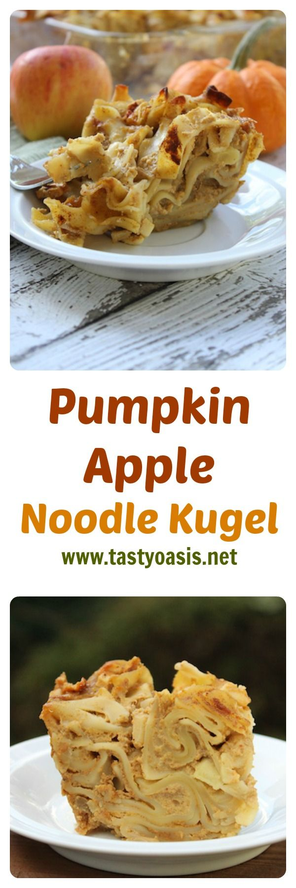 This Pumpkin Apple Noodle Kugel is a warm and creamy pudding that includes all the best flavors of fall. Easy to prepare, it's a non-traditional take on a Jewish holiday favorite, and is perfect for breakfast, afternoon tea and especially dessert. The crunchy noodles on top are hard to resist, while the insides are decadent and comforting. | www.tastyoasis.net