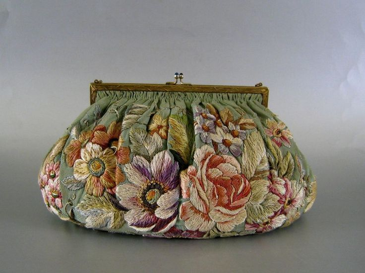 Vintage Silk Embroidered Floral Purse c.1930 from stonehouseantiques on Ruby Lane