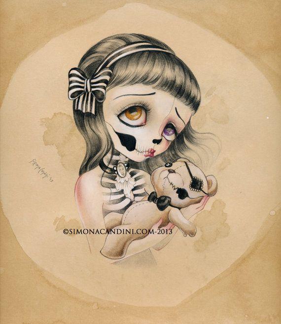 Pauvre Teddy à tirage limité signé numéroté Simona Candini Art « OS et poésie » gothique skull lowbrow pop surréaliste de grands yeux