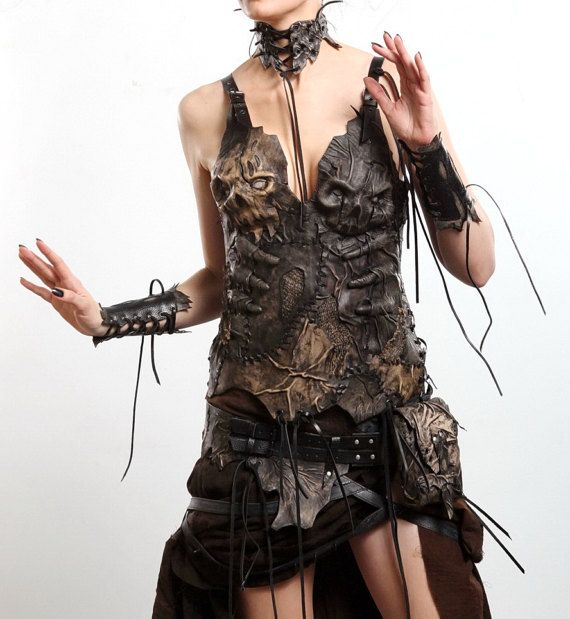 Leather Fantasy Costume - Personal order / Goth dress Gothic clothing Horror costume Gothic decor Zombie Dead Wicca Cosplay Wiccan clothing