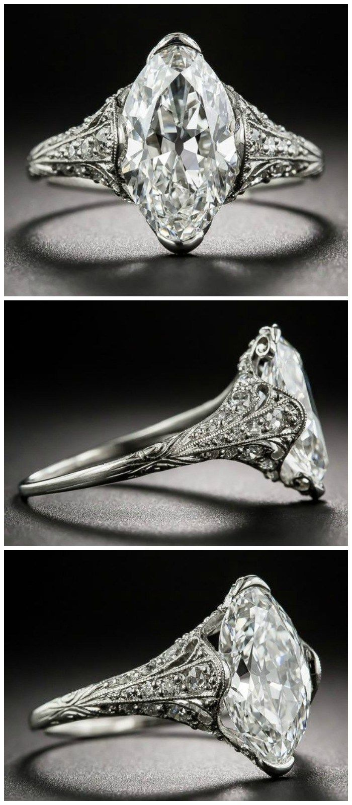 Marquise diamond setting ideas - Let S Look At Antique Engagement Rings