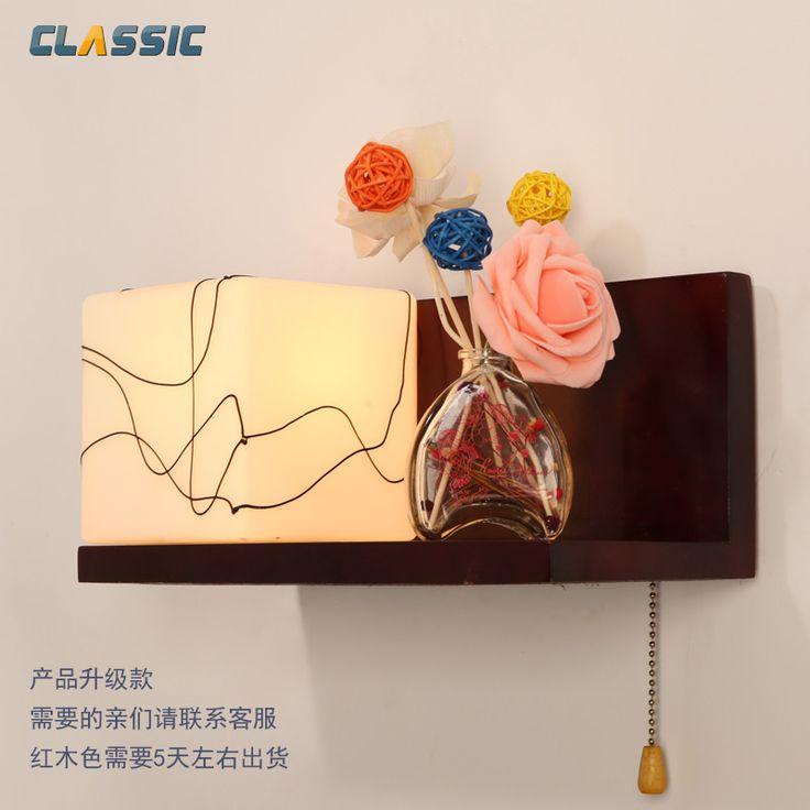 Современный минималистский спальня прикроватные бра творческий пастырской древесины IKEA уютной гостиной с переключателем Светодиодные Night Light - Taobao
