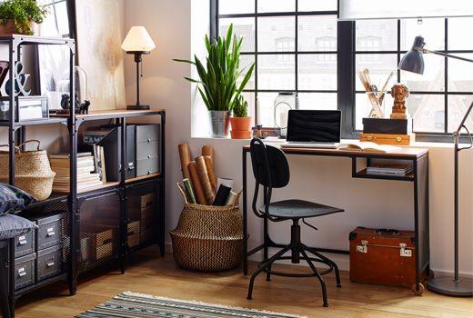 FJÄLLBO bureau industriel et table pour ordinateur portable en bois et en acier